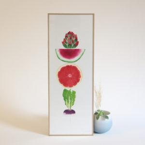 Aubergine/Haricots/Brocolis/Chou rouge Gravure à l'eau-forte Fany PERRET